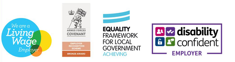 Living Wage Employer logo, Armed Forces Covenant logo, Equality Framework for Local Government Logo, Disability Confident Employer logo