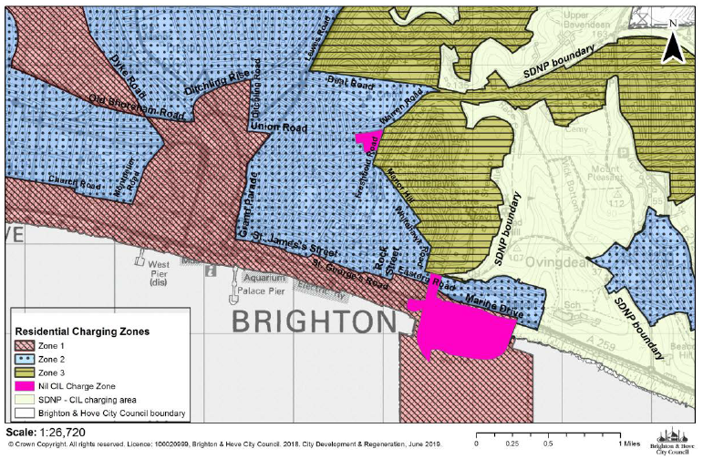 """Map of east of Brighton to the city centre showing the Community Infrastructure Levy Charging Zones. Road names identify the charging area boundaries. The map also shows the South Downs National Park boundary where the Brighton & Hove charges do not apply."""