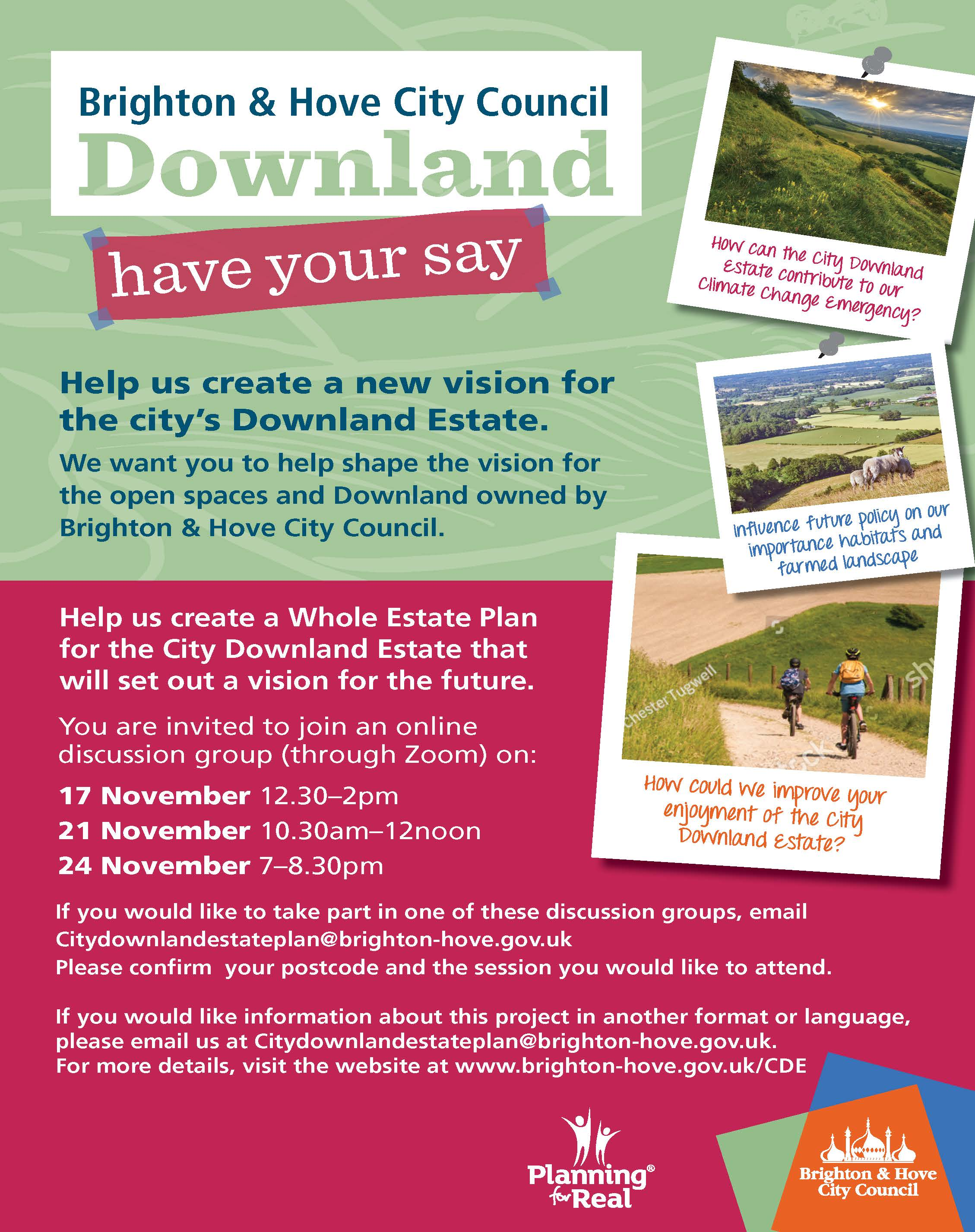 Have your say on City Downland Estate Plan poster.