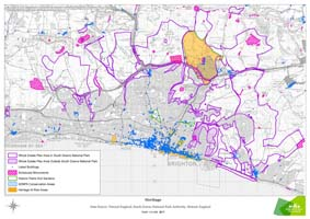 This map shows areas within the downland estate identified as worthy of conservation and protection.