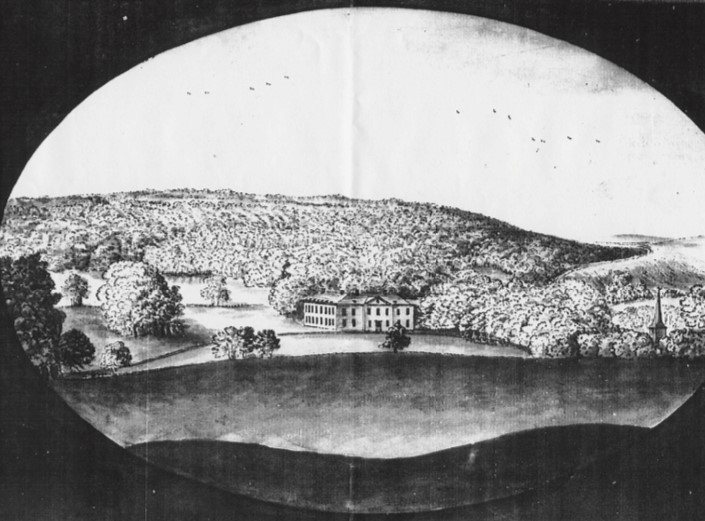 Black and white drawing of Stanmer Estate