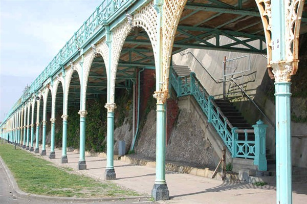 Madeira Terrace on Madeira Drive in Brighton is currently closed to the public.
