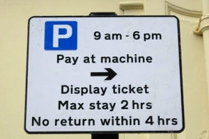 limited stay pay and display sign