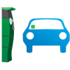 small icon of a pay and display machine and car with ticket showing