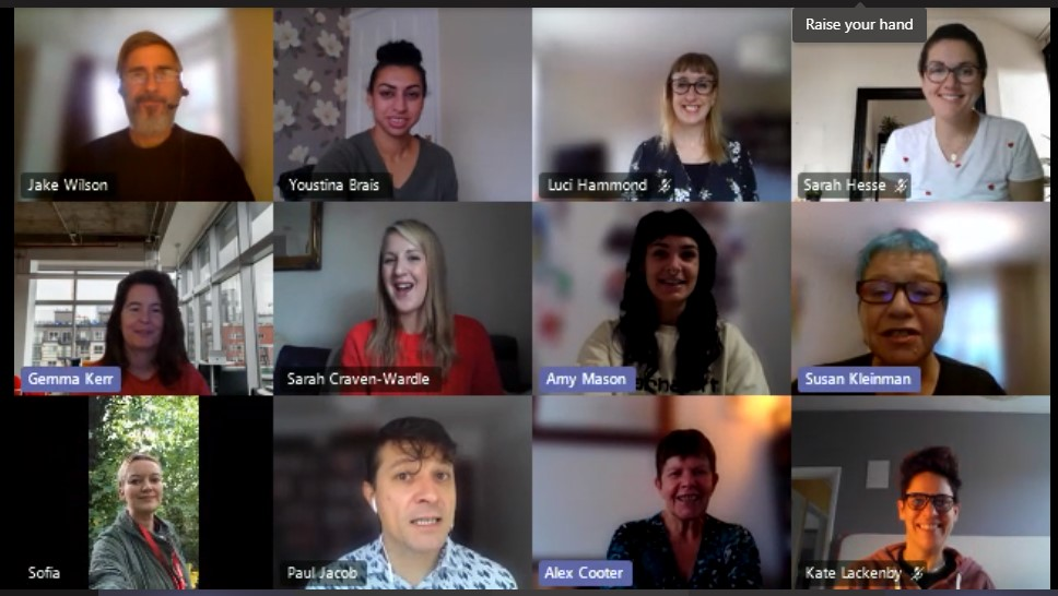 Screenshot of RU-OK? digital team meeting. From top left: Jake, Youstina, Luci, Sarah, Gemma, Sarah, Amy, Susan, Sofia, Paul, Alex, Kate