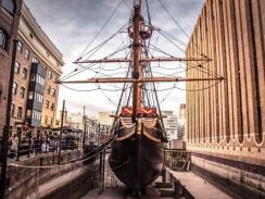 Golden Hinde in a dock