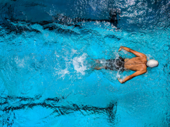 Aerial view of swimmer