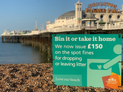 Littering sign on Brighton beach with pier in the background