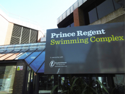 Photo of the sign and entrance to the Prince Regent Swimming Complex in Brighton