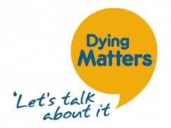 Yellow speech bubble on a white background with the words 'Dying Matters' and 'Let's talk about it' in blue writing