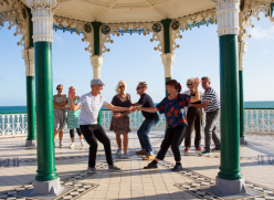 Photo of people dancing on the Bandstand the Older People's Festival by Maria Scard