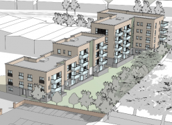 Architect's image of the proposed new council homes in Victoria Road
