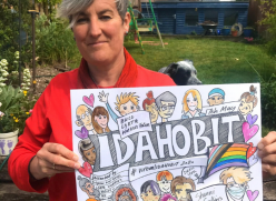 Author and illustrator Shanni Collins with the IDAHOBIT2020 poster