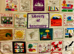 The Network of International Women's Library of Sanctuary banner in Jubilee Library