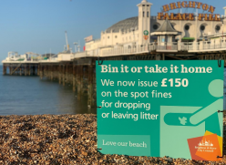 Seafront litter sign