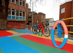 Picture of colourful paving and cycle racks
