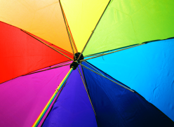 Rainbow coloured umbrella