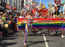 Photo of the 2018 pride parade on North Street, Brighton