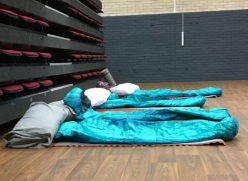 Beds in a night shelter