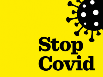 Yellow box with black writing. Stop Covid. Image of coronavirus logo.